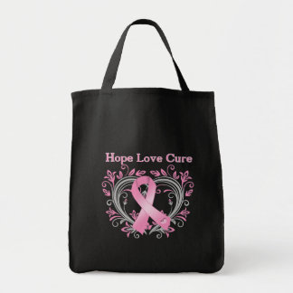 Hope Love Cure Breast Cancer Awareness Ribbon Tote Bag