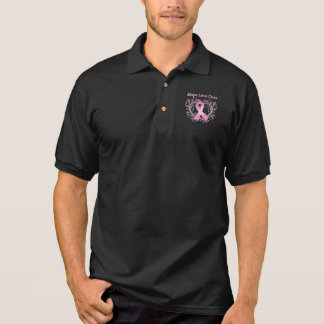 Hope Love Cure Breast Cancer Awareness Ribbon Polo Shirt