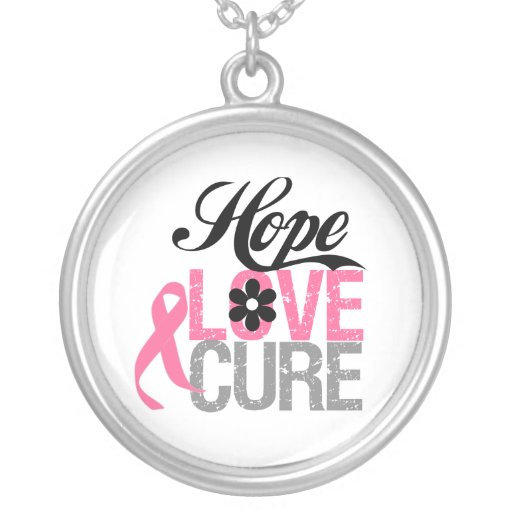 Hope Love Cure Breast Cancer Round Pendant Necklace