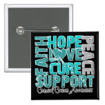 Hope Love Cure Cervical Cancer Awareness 2 Inch Square Button