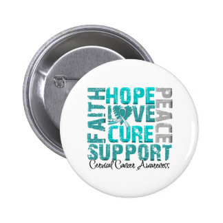 Hope Love Cure Cervical Cancer Awareness Button