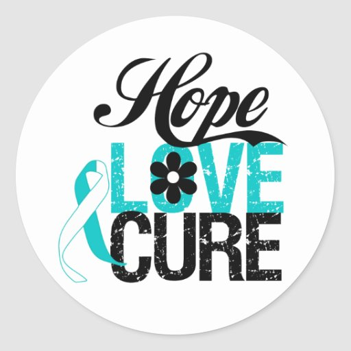 Hope Love Cure CERVICAL CANCER Gifts Classic Round Sticker