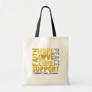 Hope Love Cure Childhood Cancer Awareness Budget Tote Bag