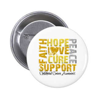 Hope Love Cure Childhood Cancer Awareness Pinback Button