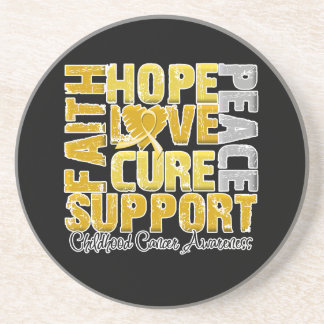 Hope Love Cure Childhood Cancer Awareness Coasters