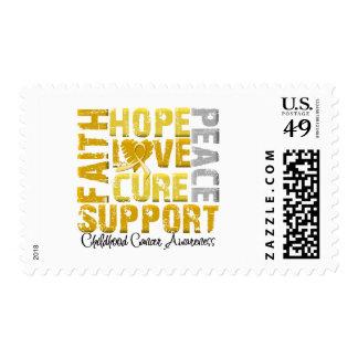 Hope Love Cure Childhood Cancer Awareness Postage Stamps