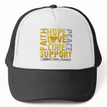 Hope Love Cure Childhood Cancer Awareness Trucker Hat