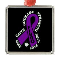 Hope Love Cure...Fibro Metal Ornament