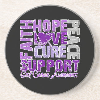 Hope Love Cure GIST Cancer Awareness Beverage Coasters