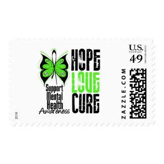 Hope Love Cure Grunge - Mental Health Awareness Stamps