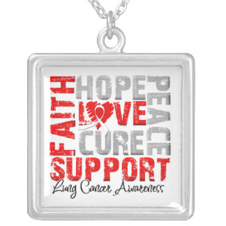 Hope Love Cure Lung Cancer Awareness Square Pendant Necklace