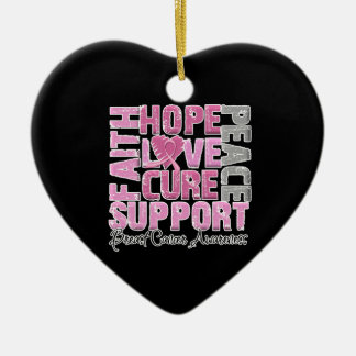 Hope Love Cure - Multiple Myeloma Awareness Double-Sided Heart Ceramic Christmas Ornament