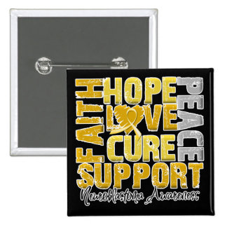 Hope Love Cure Neuroblastoma Awareness Pinback Button