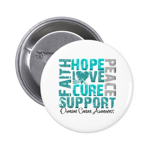 Hope Love Cure Ovarian Cancer Awareness 2 Inch Round Button