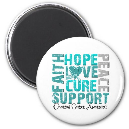 Hope Love Cure Ovarian Cancer Awareness Refrigerator Magnets