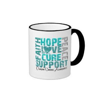 Hope Love Cure Ovarian Cancer Awareness Ringer Coffee Mug