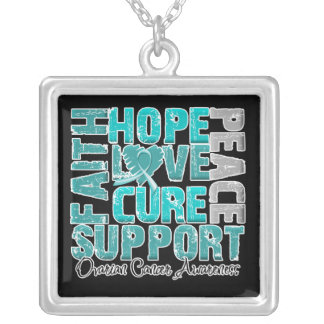 Hope Love Cure Ovarian Cancer Awareness Square Pendant Necklace