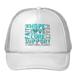 Hope Love Cure Ovarian Cancer Awareness Trucker Hat