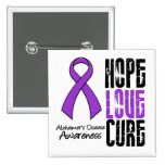 Hope Love Cure Ribbon Alzheimer's Disease 2 Inch Square Button