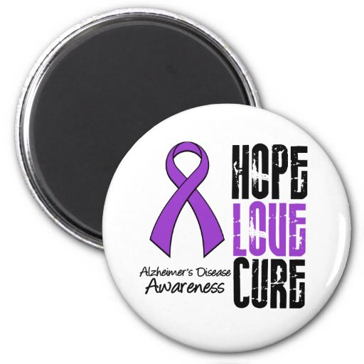 Hope Love Cure Ribbon Alzheimer's Disease 2 Inch Round Magnet