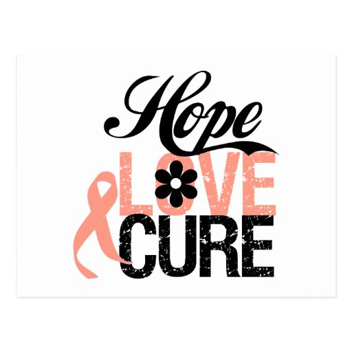 HOPE LOVE CURE Uterine Cancer Gifts Post Cards