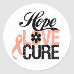 HOPE LOVE CURE Uterine Cancer Gifts Round Sticker