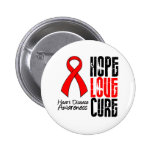 Hope Love Cure v2 Heart Disease Pinback Buttons
