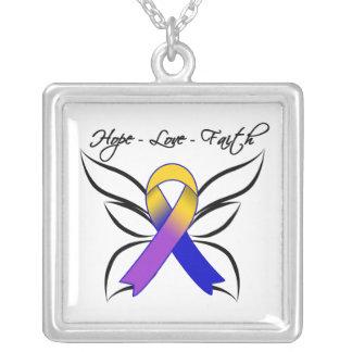 Hope Love Faith Butterfly - Bladder Cancer Pendant