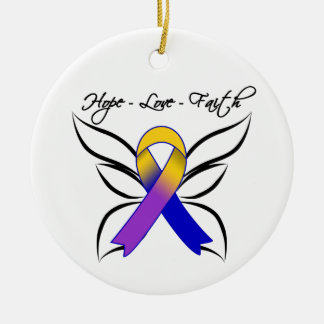 Hope Love Faith Butterfly - Bladder Cancer Christmas Ornaments