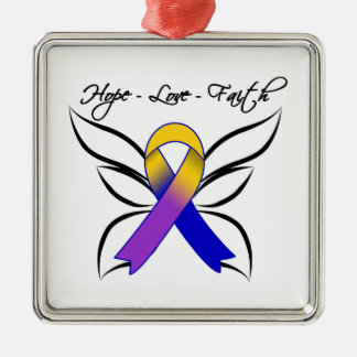 Hope Love Faith Butterfly - Bladder Cancer Christmas Tree Ornaments