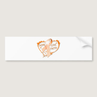 Hope Love Faith Heart (Orange) Bumper Sticker