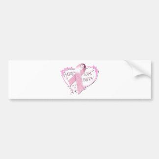 Hope Love Faith Heart (pink) Bumper Sticker