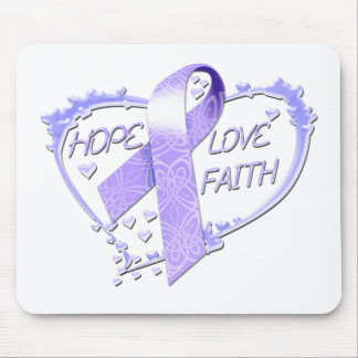 Hope Love Faith Heart (purple) Mouse Pad