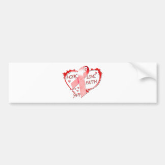 Hope Love Faith Heart (Red) Bumper Sticker
