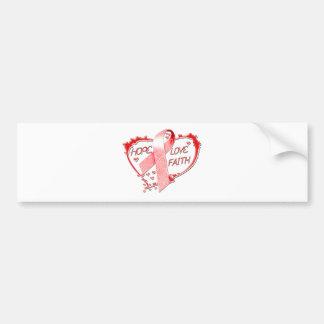 Hope Love Faith Heart (Red) Bumper Sticker