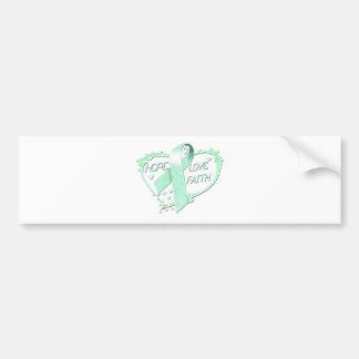 Hope Love Faith Heart (teal) Bumper Sticker