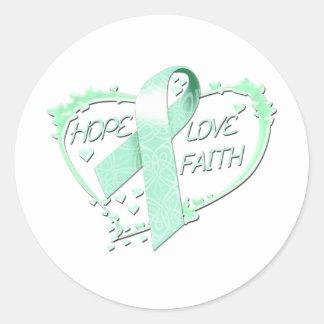 Hope Love Faith Heart (teal) Classic Round Sticker