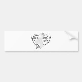 Hope Love Faith Heart (White) Bumper Sticker