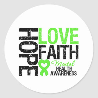 Hope Love Faith Mental Health Awareness Classic Round Sticker