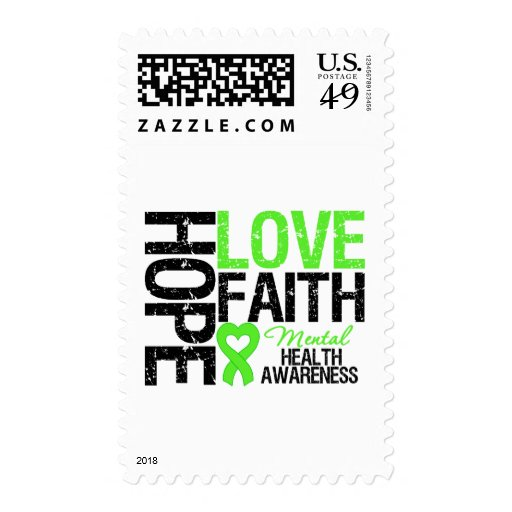 Hope Love Faith Mental Health Awareness Postage