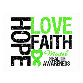 Hope Love Faith Mental Health Awareness Post Cards