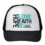 Hope Love Faith Ovarian Cancer T-Shirts Trucker Hats