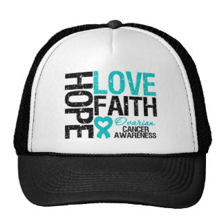Hope Love Faith Ovarian Cancer T-Shirts Trucker Hat