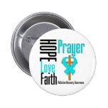 Hope Love Faith Prayer Addiction Recovery Pinback Buttons