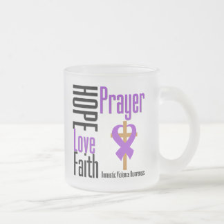Hope Love Faith Prayer Ribbon Domestic Violence 10 Oz Frosted Glass Coffee Mug
