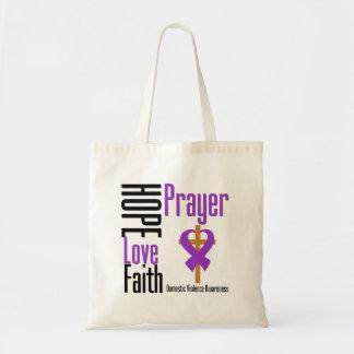 Hope Love Faith Prayer Ribbon Domestic Violence Bags
