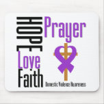 Hope Love Faith Prayer Ribbon Domestic Violence Mouse Pad