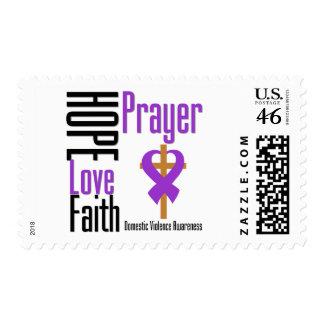 Hope Love Faith Prayer Ribbon Domestic Violence Postage