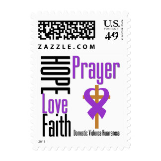 Hope Love Faith Prayer Ribbon Domestic Violence Stamp