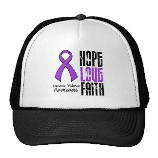 Hope Love Faith Ribbon Domestic Violence Trucker Hat